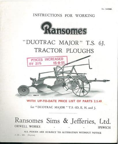 Ransomes TS6J Duotrac Major Tractor Plough Operators Manual with Parts List