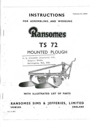 Ransomes TS72 Mounted Plough Operators Manual with Parts List