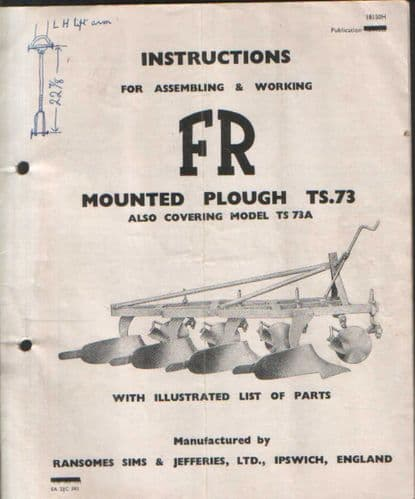 Ransomes TS73 & TS73A FR Mounted Plough Operators Manual with Parts List