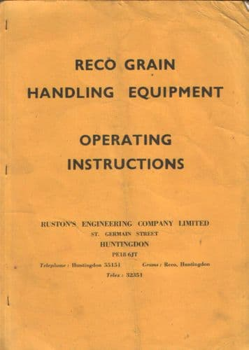 Reco Grain Handling Equipment Operating Instructions
