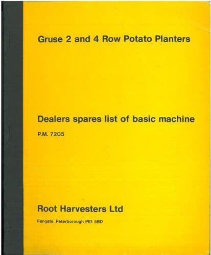 Root Harvesters Ltd Gruse 2 & 4 Row Potato Planters Parts Manual