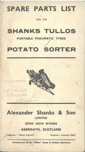 Shanks Tullos Potato Sorter Parts Manual - ORIGINAL