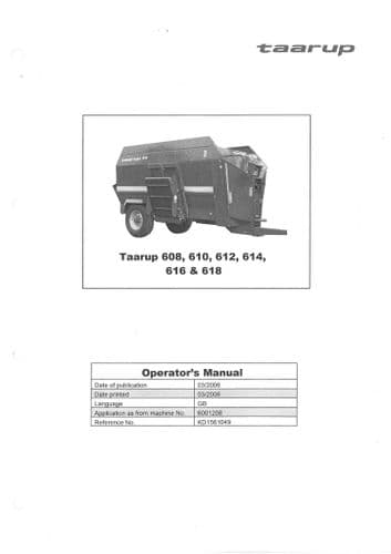 Taarup Diet Feeder Mixer Wagon Operators Manual with Digistar and TMRscale