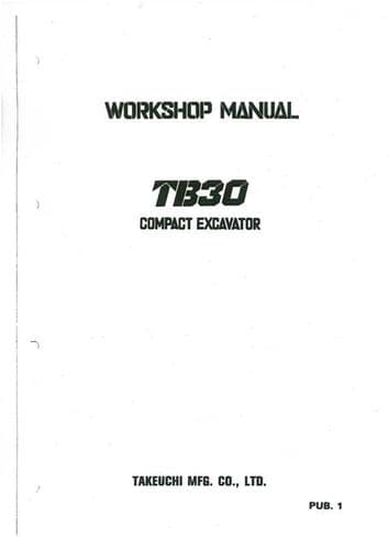 Takeuchi Hydraulic Excavator TB30 Specifications Manual in Wiring Diagram