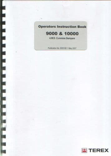 Terex 9000 & 10000 Cummins 4WD Dumper Operators Manual