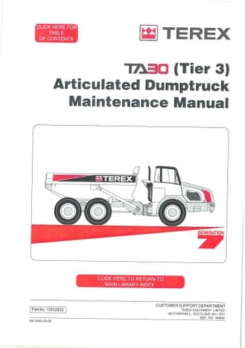 Terex Articulated Dumptruck TA30 - TA40 Workshop Manual