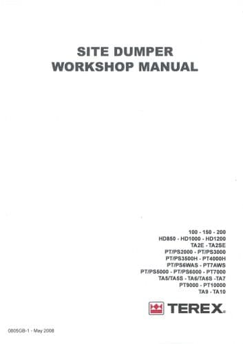 Terex Dumper TA2E TA2SE TA5 TA5S TA6 TA6S TA7 TA9 TA10 Workshop Service Repair Manual