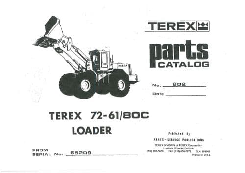 Terex Loader 72-61/80C Parts Manual