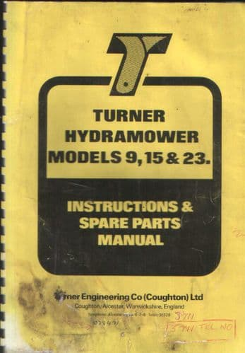 Turner Hedgetrimmer Hydramower Models 9, 15 & 23 Operators Manual with Parts List.