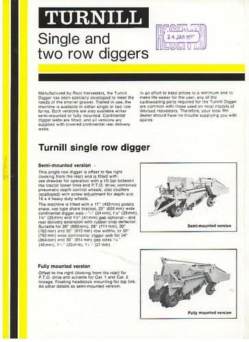 Turnill Single and Two Row Diggers Brochure