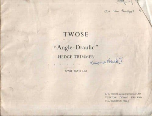 Twose Angledraulic Hedgetrimmer Parts Manual