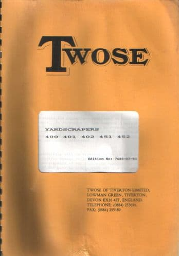 Twose Yardscraper 400 401 402 451 452 Operators Manual with Parts List