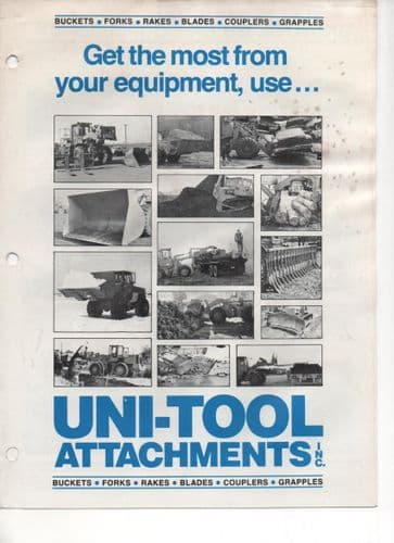 Uni-Tool Attachments - Buckets, Forks, Rakes, Blades, Couplers, & Grapples Brochure