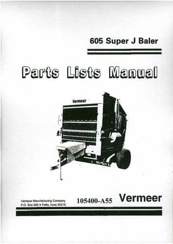 Vermeer Baler 605 Super J Parts Manual