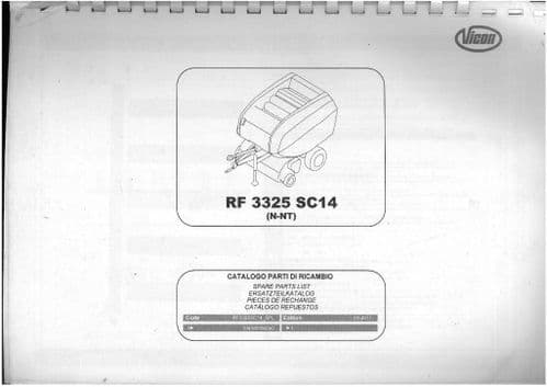 Vicon Baler RF3325 Parts Manual - RF 3325