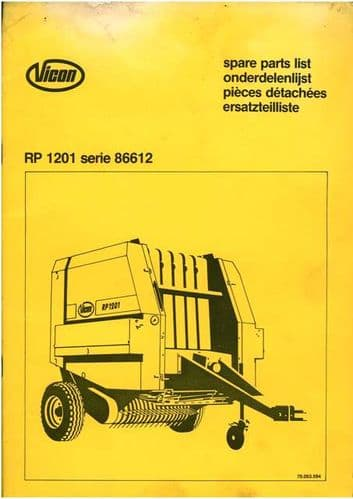 Vicon Baler RP1201 Parts Manual