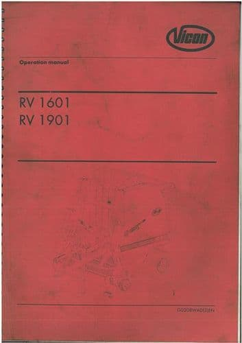 Vicon Baler RV1601 & RV1901 Operators Manual - RV 1601 1901