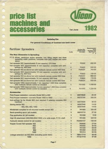 Vicon Machines and Accessories 1982 Price List