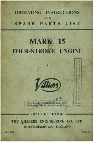 Villiers Mk 15 Four Stroke Engine Operators Manual with Parts List