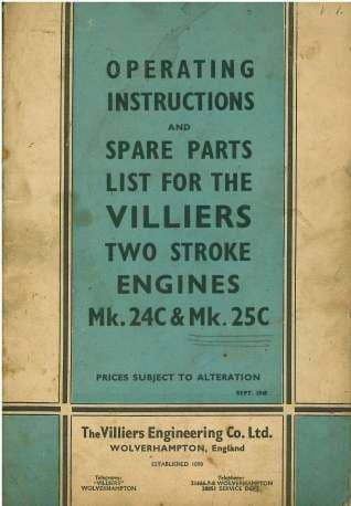 Villiers Mk 24C & 25C Two Stroke Engine Operators Manual with Parts List