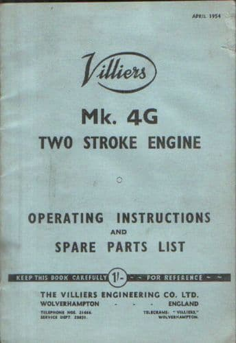 Villiers Mk 4G Two Stroke Engine Operators Manual with Parts List