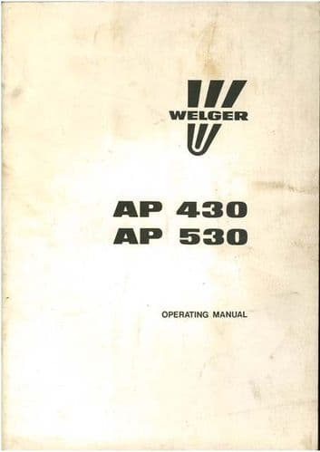 Welger Baler AP430 & AP530 Operators Manual