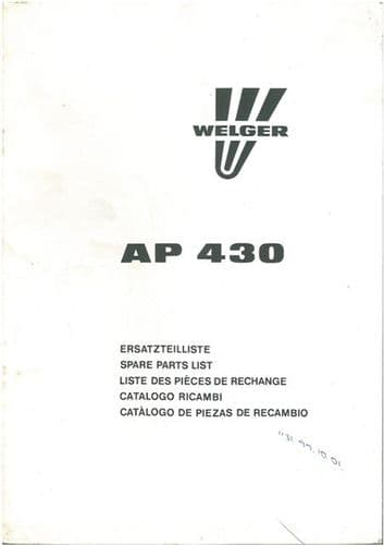 Welger Baler AP430 Parts Manual