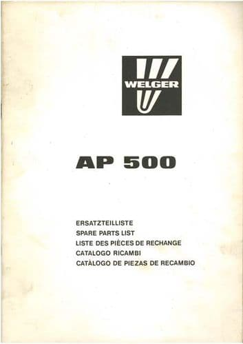 Welger Baler AP500 Parts Manual