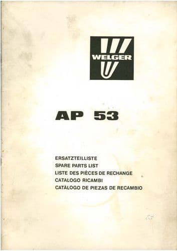 Welger Baler AP53 Parts Manual - ORIGINAL