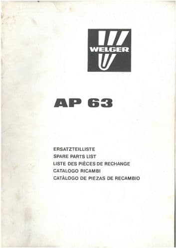 Welger Baler AP63 Parts Manual - ORIGINAL MANUAL