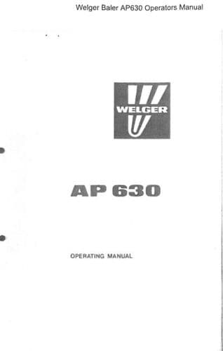 Welger Baler AP630 Operators Manual