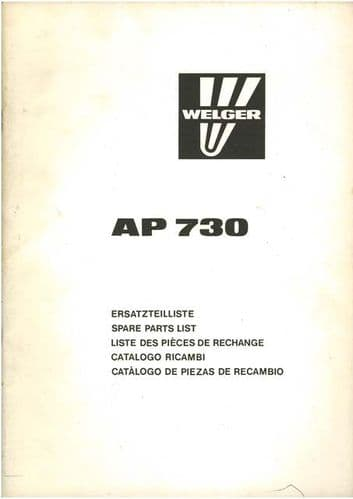 Welger Baler AP730 Parts Manual