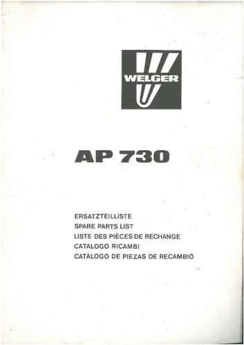 Welger Baler AP730 Parts Manual - ORIGINAL MANUAL