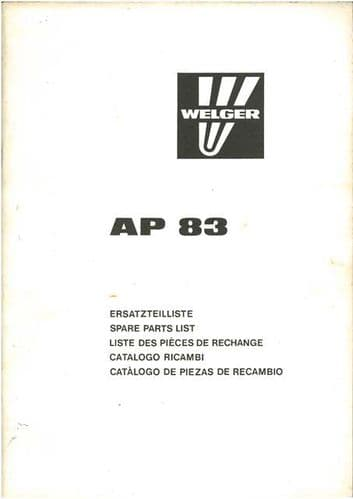 Welger Baler AP83 Parts Manual