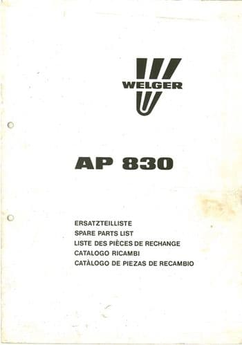 Welger Baler AP830 Parts Manual