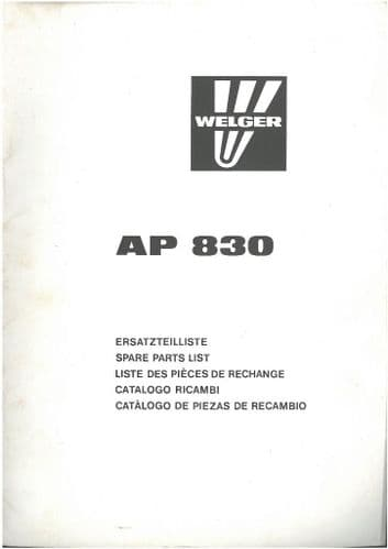 Welger Baler AP830 Parts Manual - ORIGINAL MANUAL