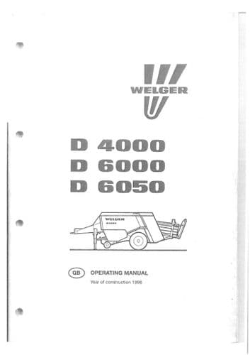 Welger Baler D4000 D6000 D6050 Operators Manual