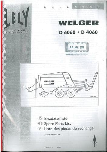 Welger Baler D4060 D6060 Parts Manual - D 4060 6060