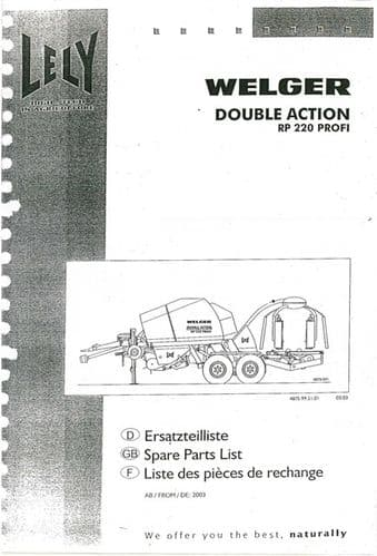 Welger Lely Double Action Round Baler RP220 Profi Parts Manual