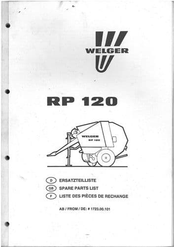 Welger Round Baler RP120 Parts Manual