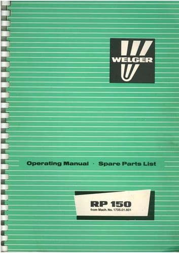 Welger Round Baler RP150 Operators Manual with Parts List