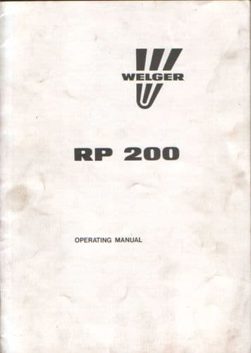 Welger Round Baler RP200 Operators Manual