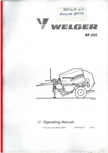 Welger Round Baler RP235 Operators Manual - ORIGINAL