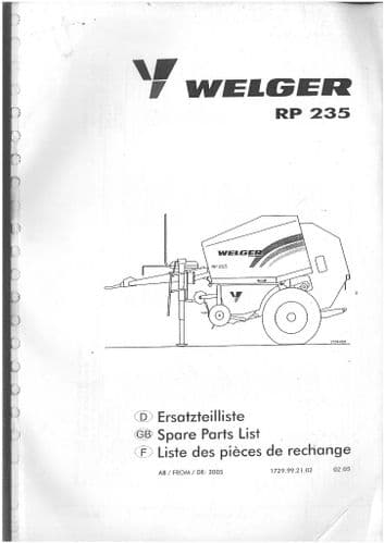 Welger Round Baler RP235 Parts Manual - ORIGINAL MANUAL