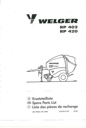 Welger Round Baler RP402 & RP420 Parts Manual
